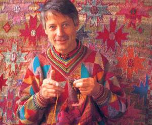 Kaffe Fassett - see the circles  in the pattern behind him