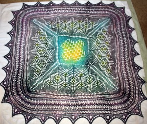 Shetland Sampler Square after painting with dyes