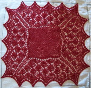 Simple Shetland sampler.  Solid center, easy border and edging.