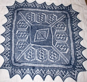 Experienced Sampler - complex lace knit center, Lace knit border and complex lace edging.