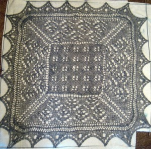 Intermediate Sampler - simple pattern in center, more complex border and eyelet added to edging.