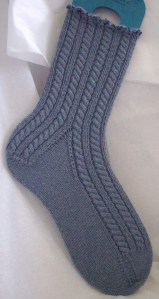 Cable and Ribbed Socks with Twisted and Beaded Cuff.