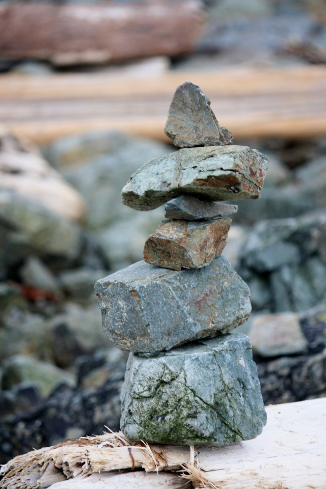 Rocky Beaches seem to invite artistic endeavors!  Inukshuk at Piper's Lagoon.