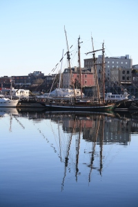 A gorgeous morning, A local tall ship is moored in the Inner Harbour.