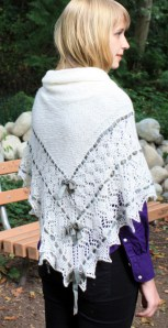 Very Traditional Christening style shawl, solid center, fancy border, outlined with ribbon, pointy edging with detailing.