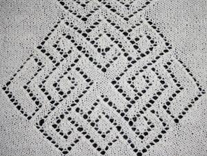 Detail of Celtic Knot work on shoulderette back.