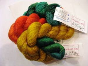 I see a Chihuly Persian shawl in these colours of ArtYarns Silk Essence!  Can't you?