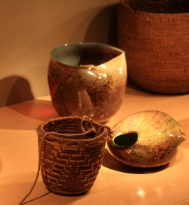 Glowing glass and cedar baskets - texture and light.