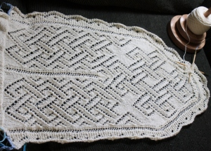 First side of the Celtic Fichu - more lace knot work.