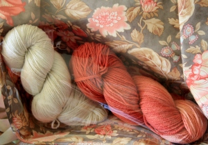 Lot 2 of Clara Parke's Great White Bale.  One hank au natural and the other Madder Dyed.