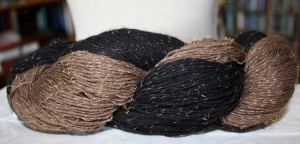 Buffalo Gold and the Black Gold twined together - you can see the gold glinting in the fibre!