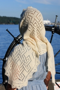 Celtic Fichu as a hooded scarf.