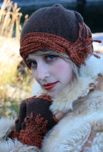 """Gorgeous Shot of Tamera wearing """"All That Jazz"""" and the Knuckle Duster Mittens.  This set was knit with Heaven Dk and Strange Twist,"""