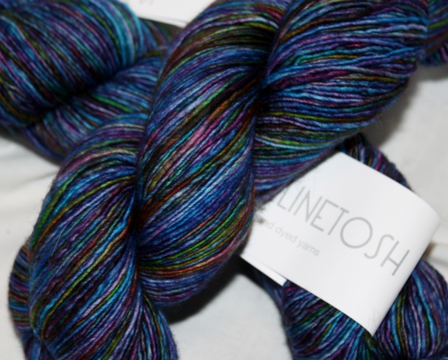 A little Mad Tosh Light, colourway Spectrum, just cause I couldn't keep my hands off of it!  LOL!  No plans as yet!