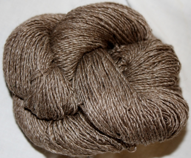 "The new Sport Weight ""Sexy"" from the Buffalo Wool Company, undyed, ready to be knit into Yippie, Ki, Yi Yea!  Look at the sheen!"