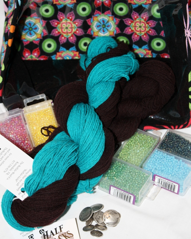 My next knitting project, beads, yarn and buttons1  And a new project bag.  Something with a real Western Flare!