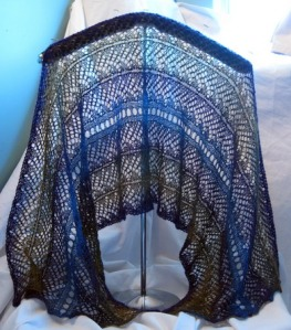 Delphinium Shawl.  Knit using the pooling technique.