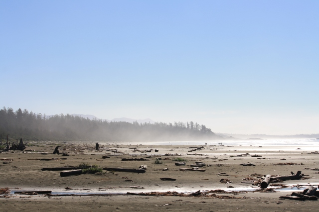 A misty morning and the beach is beautiful.