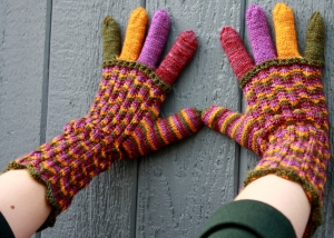 Chihuly Chevron Fingerless Mittens and Gloves.