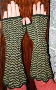 Chihuly Chevron Fingerless Mittens.