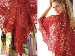Vogue Knitting #10 - red lace shawl.  Photo credit to follow.