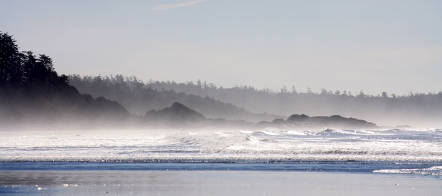 Morning Mist rising off of the beach.