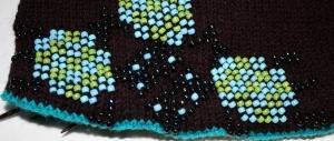 Turtle Flower Gauntlet Cuff - bead knit detail.