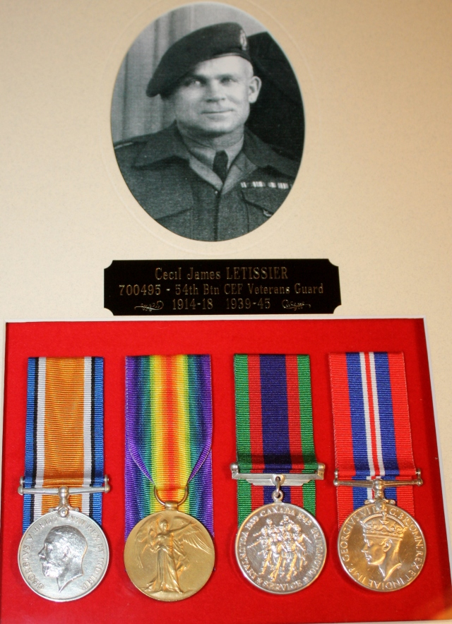 Cecil James LeTissier, 5ht Battalion, Canadian Expeditionary Forces in WW! and Veterans Guard in WWII