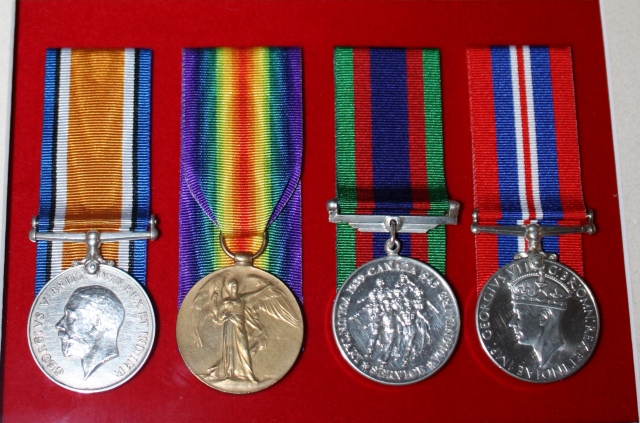 The first two medal are from grandfather's service in the first war and the second two from his service in the second war.