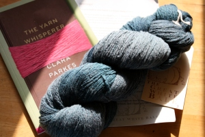 Lot 3 - merino mixed with silk and hand-dyed with a dye especially blended for us.  An advance sampler copy of the Yarn Whisperer was included!