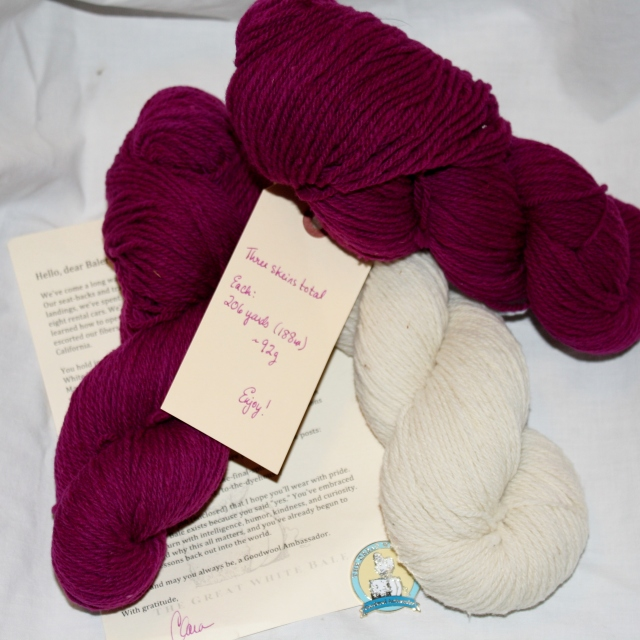 Lot 4 of the Great White Bale! Good-bye letter and pin with 600yds DK weight yarn!