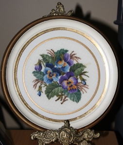 I have a special thing for Pansy's.  They are my favorite flower.  Debbie saw this beautiful petit point and thought of me!