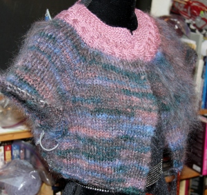 Enigma mohair, with a silk/wool accent yarn.