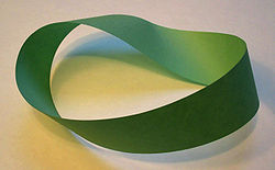 A Moebius Strip created from a piece of paper - from Wikipedia!