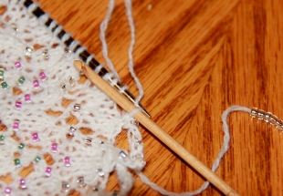 Beaded crochet bind-off.