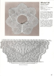 A vintage collar pattern - chart symbols are unknown.