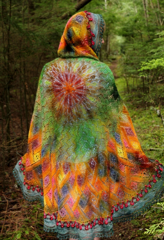 My personal favorite photo of the The Garden Gate Shawl - hand-painted with dyes.