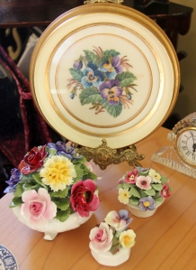 The new collection - 3 Aynsley Florals with a beautiful Pansy picture from a friend!