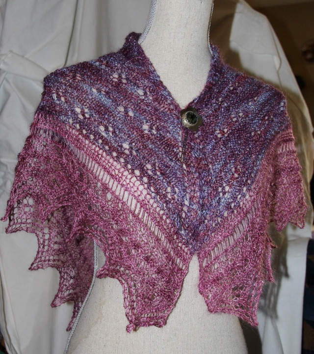 The Jazzy Shawl is finished - Colinton Mohair produces great results!