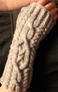 C.c. Snugs - a new pattern - and the experienced cabled fingerless mittens for the class on Saturday!