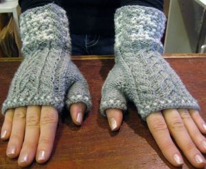 Winter Shadows - fingerless mittens for the Retreat.