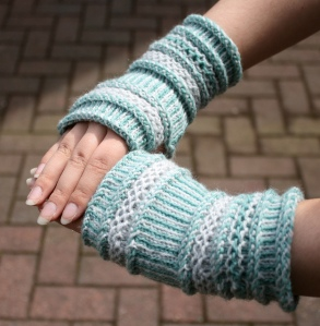 Twined mittens - two colours and wonderful textures.