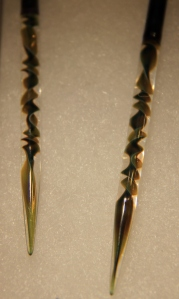 Glass needle tips - works of art, in Pyrex and dichromatic glass.