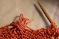 Wraps have been transferred to the left hand needle and ready to knit.