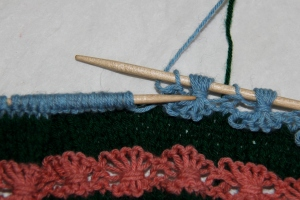 Yarn is forward to purl next st, Purl st and then take yarn to the back to start the sequence again.