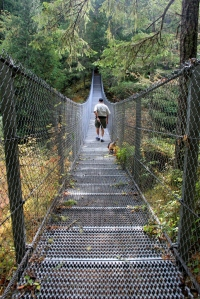 Crossing Haslam Creek Suspension Bridge